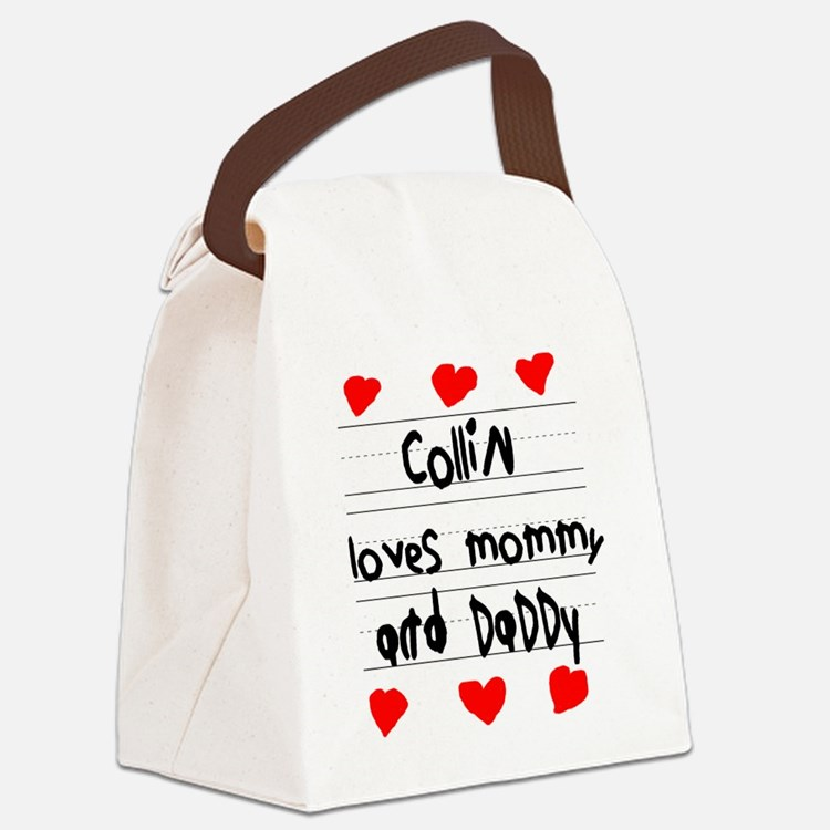 Collin Loves Mommy and Daddy Canvas Lunch Bag