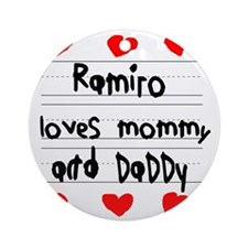 Ramiro Loves Mommy and Daddy Round Ornament