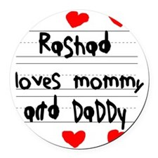 Rashad Loves Mommy and Daddy Round Car Magnet