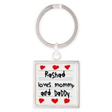 Rashad Loves Mommy and Daddy Square Keychain