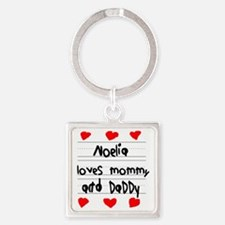 Noelia Loves Mommy and Daddy Square Keychain