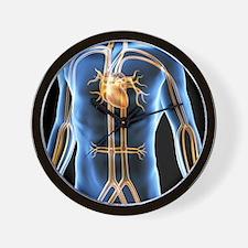 Human cardiovascular system, artwork Wall Clock