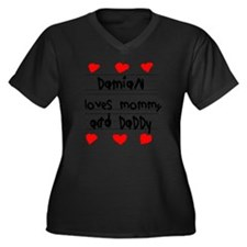Damian Loves Women's Plus Size Dark V-Neck T-Shirt