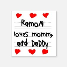 """Ramon Loves Mommy and Daddy Square Sticker 3"""" x 3"""""""