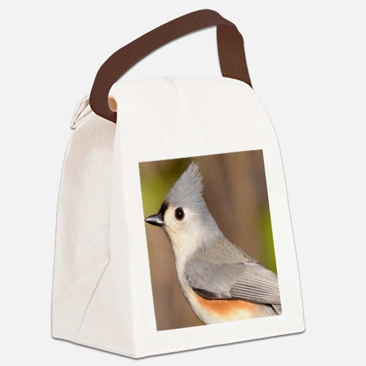 Tufted Titmouse Tile Coaster Canvas Lunch Bag