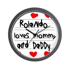 Rolando Loves Mommy and Daddy Wall Clock