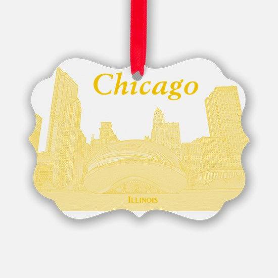 ChicagoBeanSkyline_Rectangle_Yell Ornament