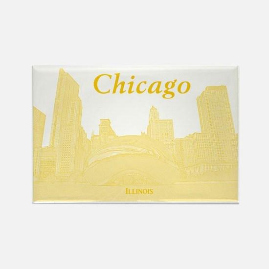 ChicagoBeanSkyline_Rectangle_Yell Rectangle Magnet