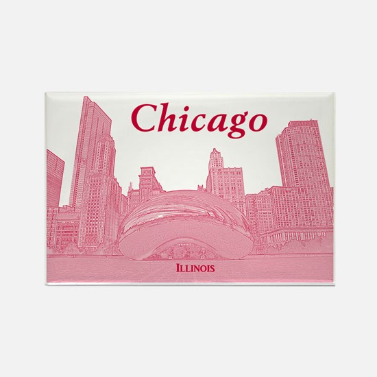 ChicagoBeanSkyline_Rectangle_Red Rectangle Magnet