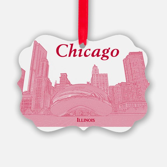 ChicagoBeanSkyline_Rectangle_Red Ornament