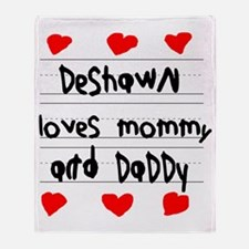 Deshawn Loves Mommy and Daddy Throw Blanket