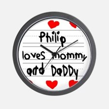 Philip Loves Mommy and Daddy Wall Clock