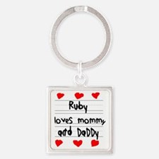 Ruby Loves Mommy and Daddy Square Keychain