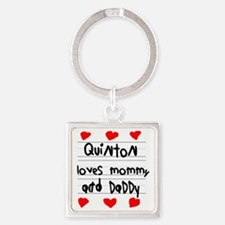 Quinton Loves Mommy and Daddy Square Keychain