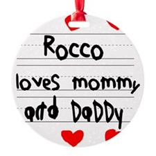 Rocco Loves Mommy and Daddy Ornament