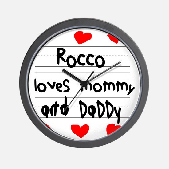 Rocco Loves Mommy and Daddy Wall Clock