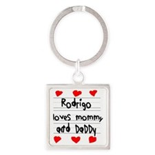 Rodrigo Loves Mommy and Daddy Square Keychain