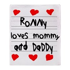 Ronny Loves Mommy and Daddy Throw Blanket