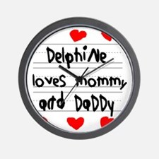 Delphine Loves Mommy and Daddy Wall Clock