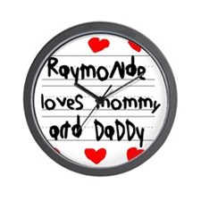 Raymonde Loves Mommy and Daddy Wall Clock