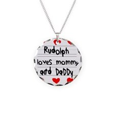 Rudolph Loves Mommy and Dadd Necklace
