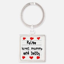 Reina Loves Mommy and Daddy Square Keychain