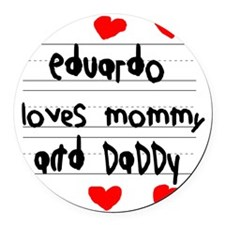 Eduardo Loves Mommy and Daddy Round Car Magnet