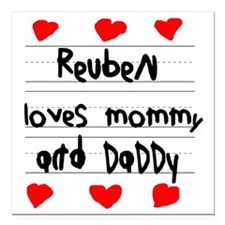 "Reuben Loves Mommy and D Square Car Magnet 3"" x 3"""