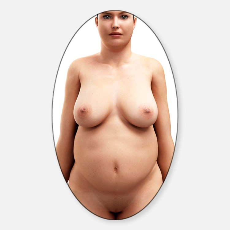 Obese woman, artwork Decal