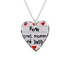 Rene Loves Mommy and Daddy Necklace Heart Charm