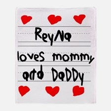 Reyna Loves Mommy and Daddy Throw Blanket