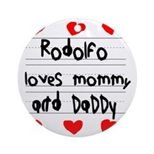 Rodolfo Loves Mommy and Daddy Round Ornament