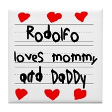 Rodolfo Loves Mommy and Daddy Tile Coaster