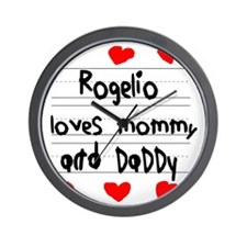 Rogelio Loves Mommy and Daddy Wall Clock