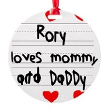 Rory Loves Mommy and Daddy Ornament