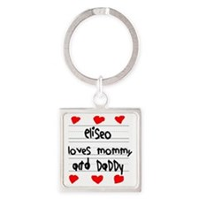 Eliseo Loves Mommy and Daddy Square Keychain