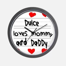 Dulce Loves Mommy and Daddy Wall Clock