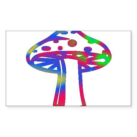 Rainbow Retro Shroomz Rectangle Sticker