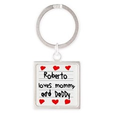 Roberto Loves Mommy and Daddy Square Keychain