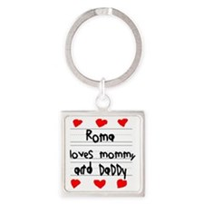 Roma Loves Mommy and Daddy Square Keychain