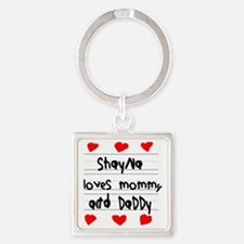 Shayna Loves Mommy and Daddy Square Keychain