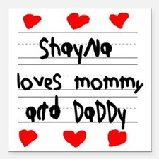 "Shayna Loves Mommy and D Square Car Magnet 3"" x 3"""