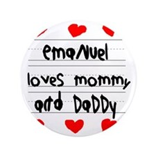 "Emanuel Loves Mommy and Daddy 3.5"" Button"