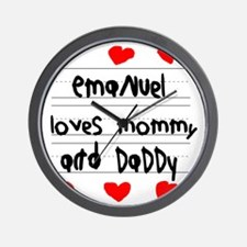 Emanuel Loves Mommy and Daddy Wall Clock