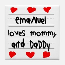 Emanuel Loves Mommy and Daddy Tile Coaster