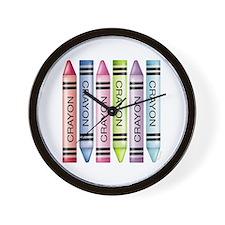 Six Crayons Wall Clock