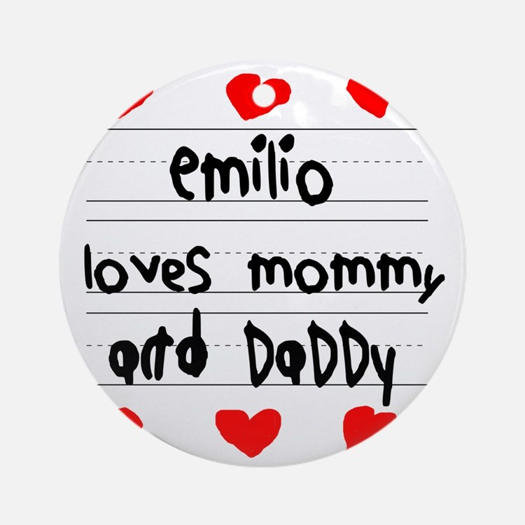 Emilio Loves Mommy and Daddy Round Ornament