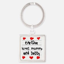Enrique Loves Mommy and Daddy Square Keychain