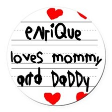 Enrique Loves Mommy and Daddy Round Car Magnet