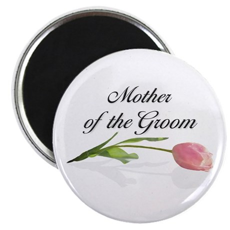 "Pink Tulip Mother of Groom 2.25"" Magnet (100 pack)"
